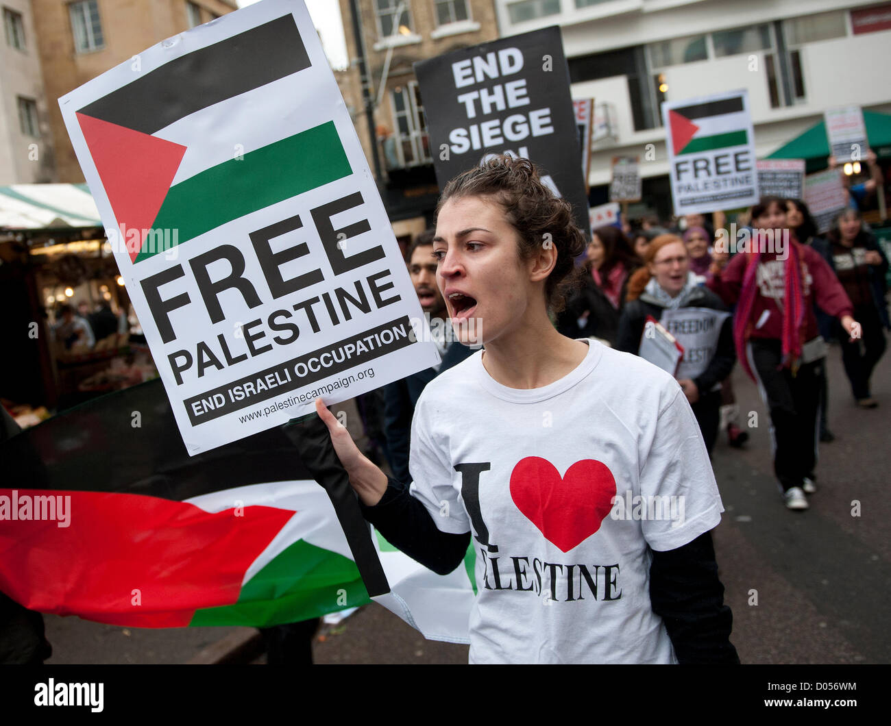 Cambridge, UK. 17th November 2012. Free Palestine and End the Siege of Gaza and stop the Israeli Occupation Demonstration - Stock Image