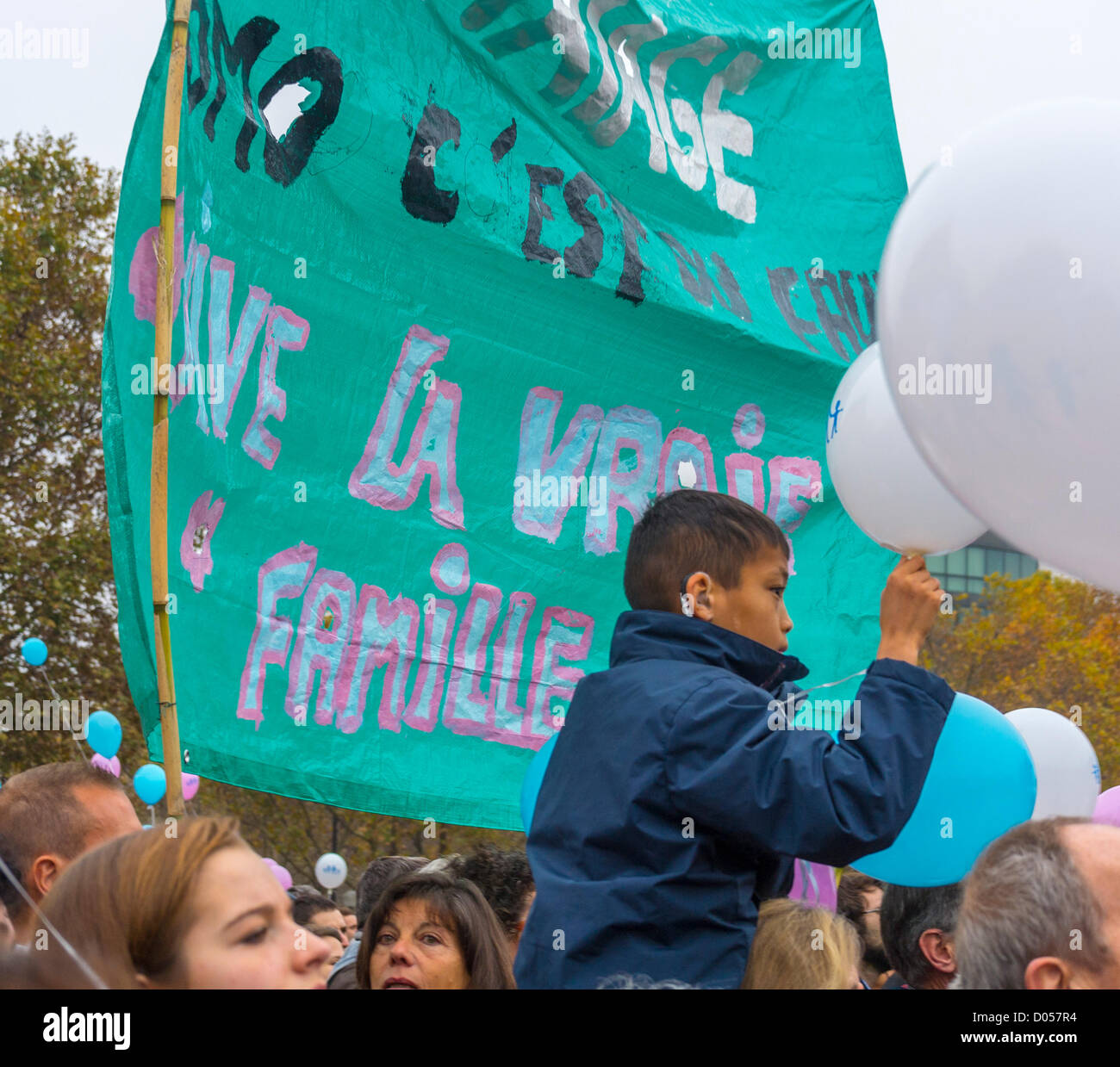 Paris, France, Banners at Anti-Gay Marriage Protest, by French Conservatives. - Stock Image