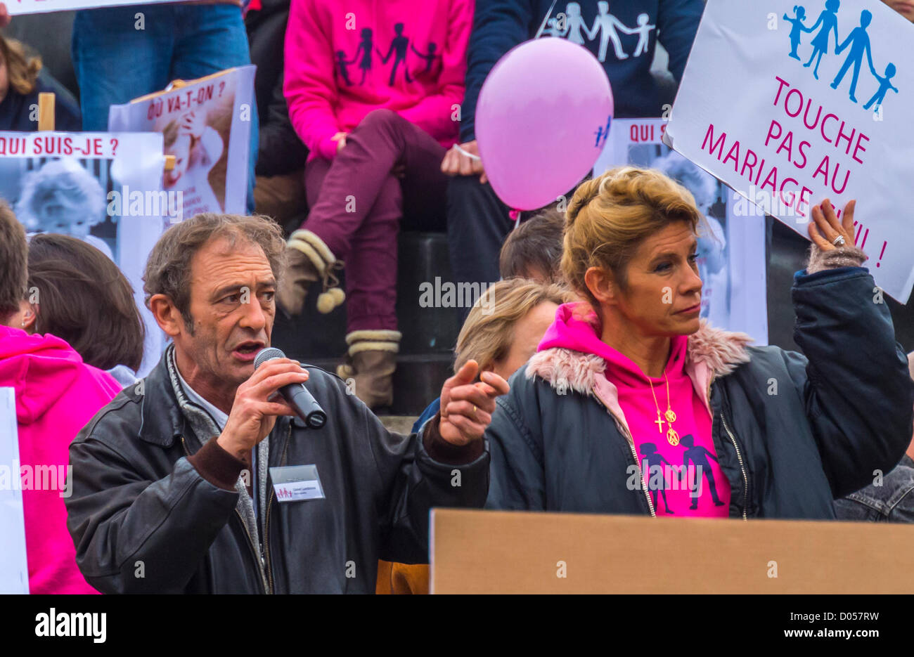 Paris, France, Anti-Gay Marriage Protest, by French Conservatives, Lionel Lumbroso, «juif athée» - Stock Image