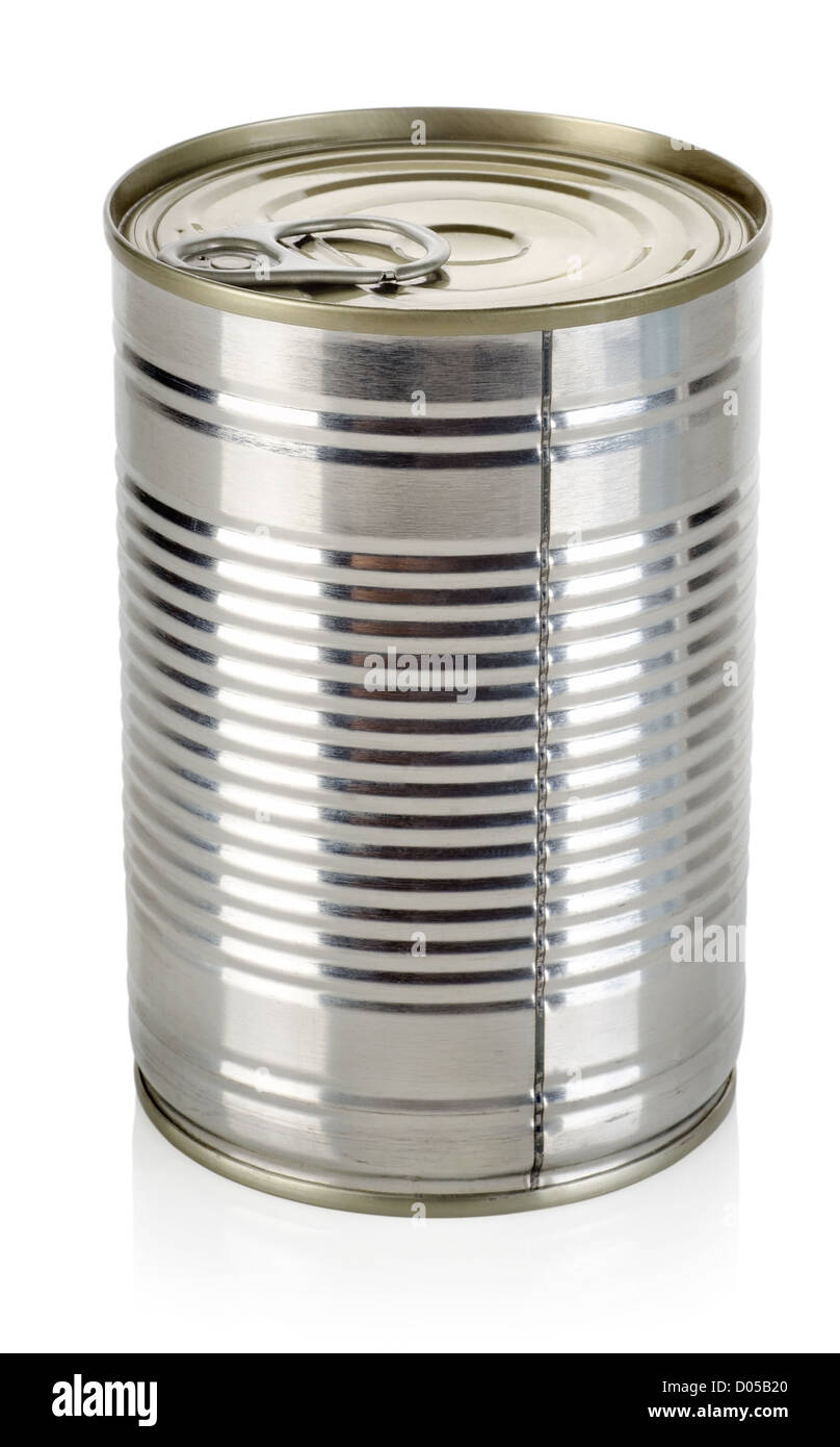 Canned food for animals isolated on a white background - Stock Image