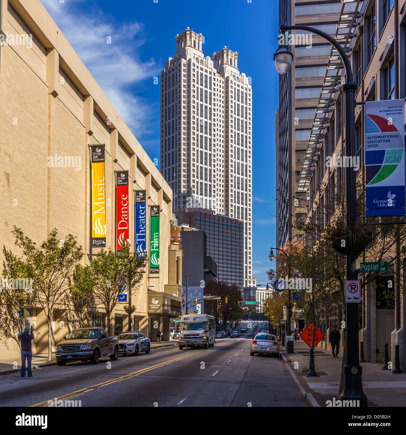 View from Forsyth and Poplear Street of 191 Peachtree Tower and Georgia State University Rialto Theater. - Stock Image