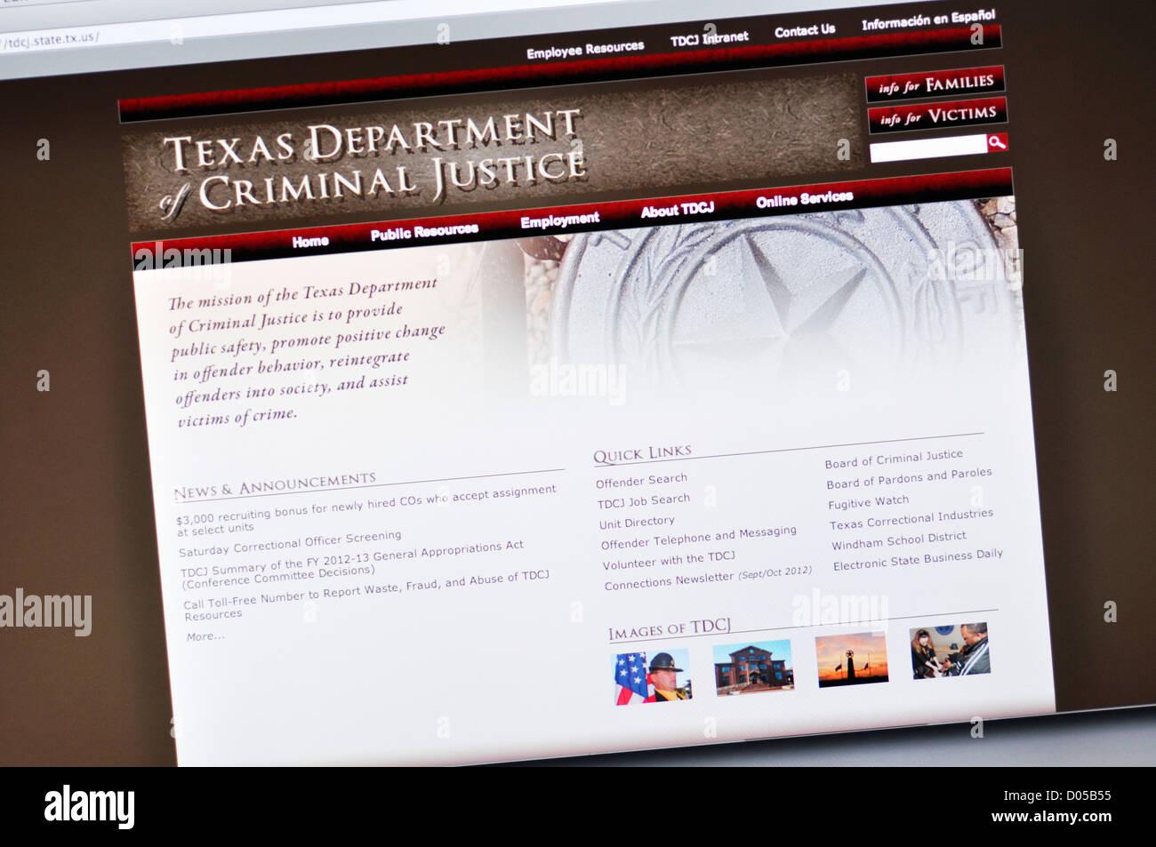 Texas Department of Criminal Justice website Stock Photo