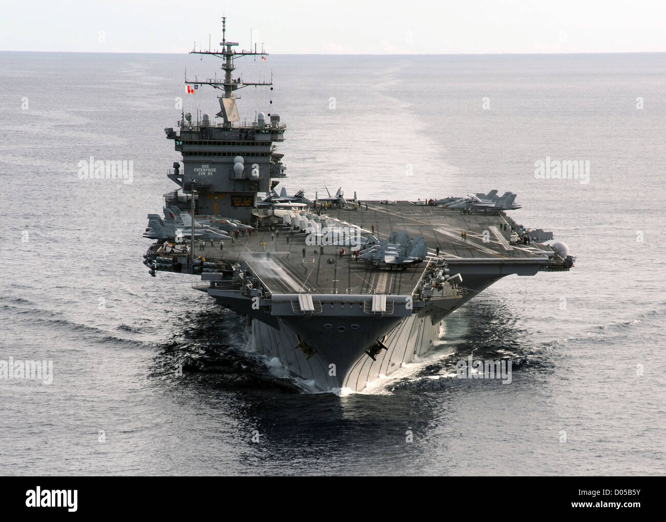 The aircraft carrier USS Enterprise is underway in the Atlantic Ocean January 25, 2012 during a composite training - Stock Image