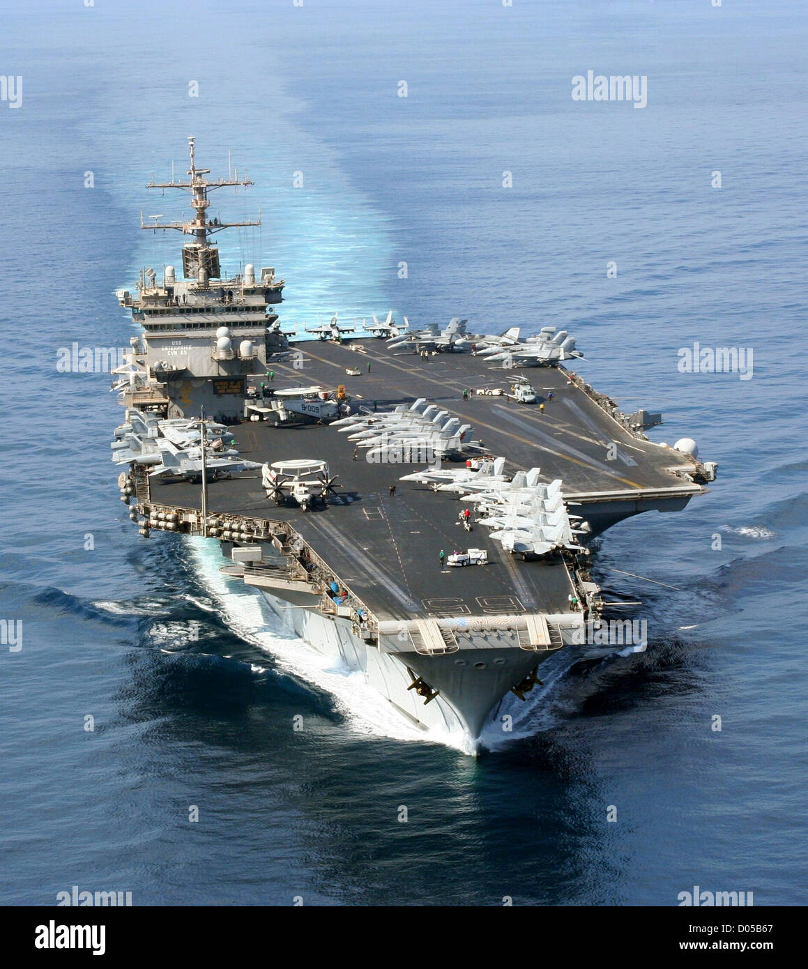 The nuclear-powered aircraft carrier USS Enterprise transits through the North Arabian Sea conducting flight operations - Stock Image