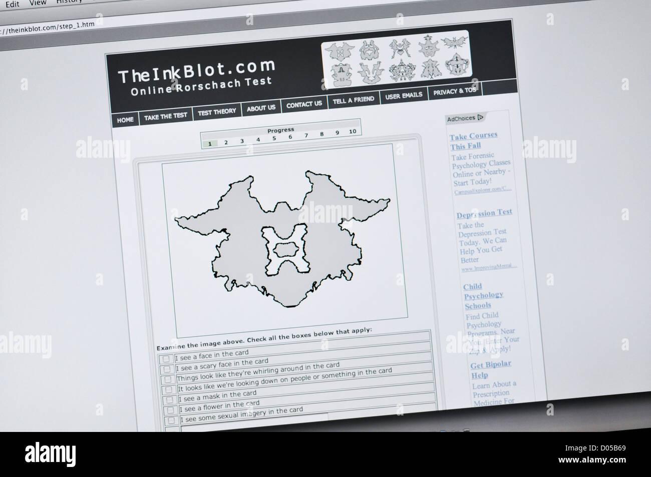 The Ink Blot website - online Rorschach test - Stock Image