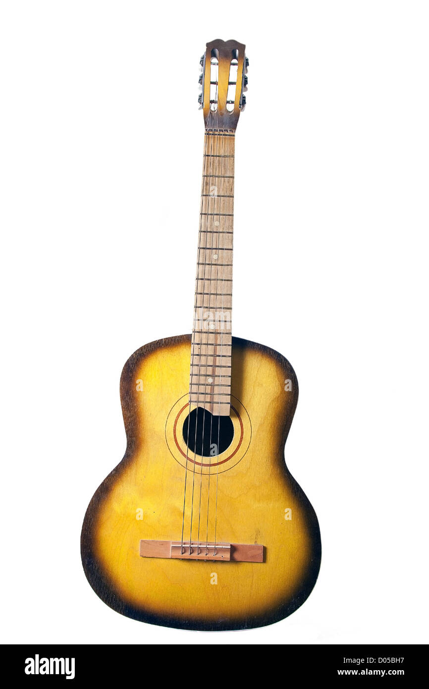 Acoustic Guitar With Broken String Isolated On White Background