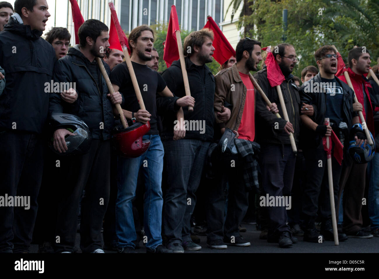 Athens, Greece, 17th November 2012.  A massive demonstration takes place in memory of the Athens Polytechnic Students - Stock Image