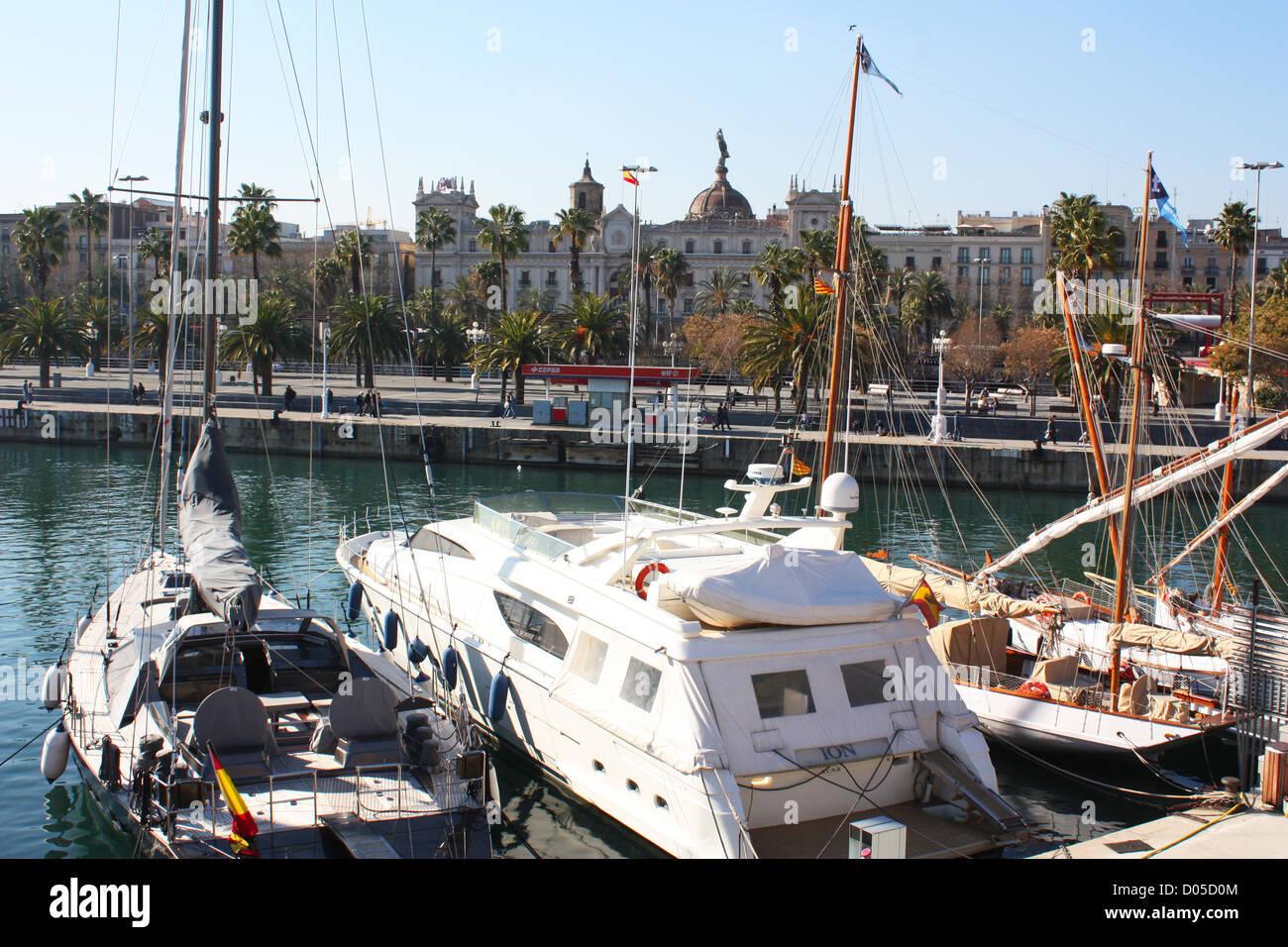 Boats in Barcelona city, Spain Stock Photo