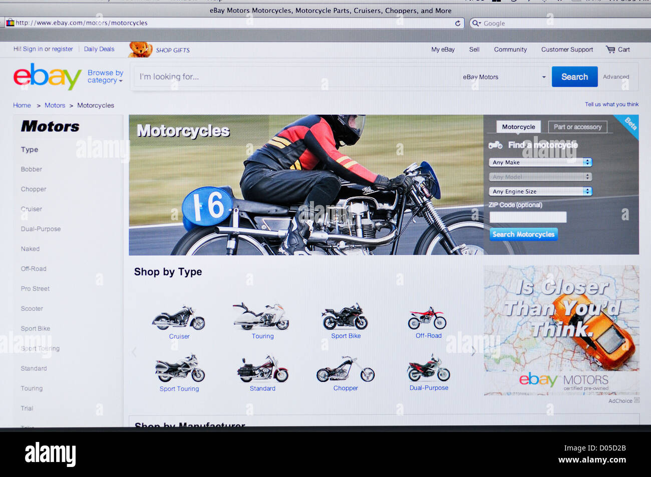 Ebay website - online shopping for motorcycles Stock Photo