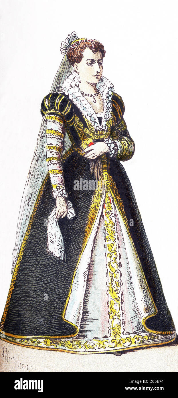 This illustration, which dates to 1882, shows an upper-class Italian woman between 1550-1600. - Stock Image