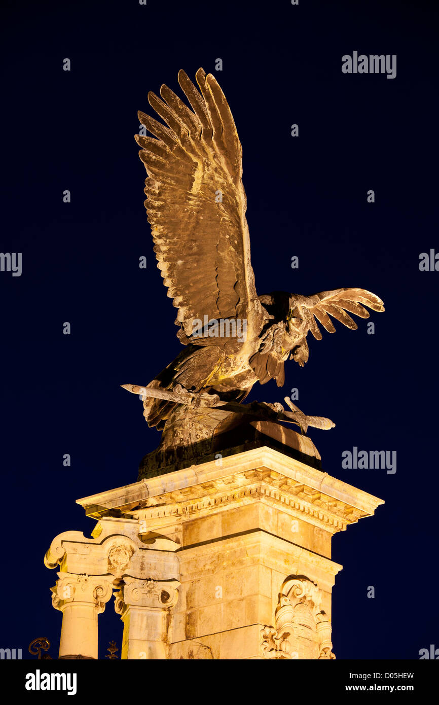 Turul Bird bronze statue from 1905 at night, located next to the Buda Castle in Budapest, Hungary. Stock Photo