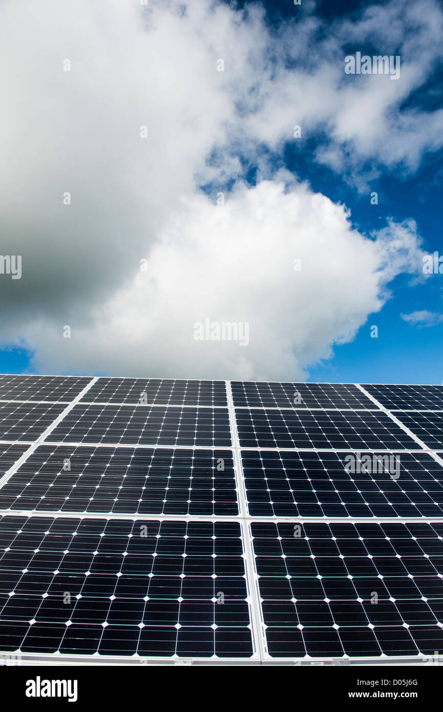 Green renewable energy: An array of solar panels converting sunshine into electricity, UK - Stock Image