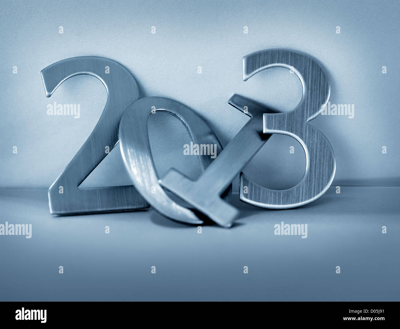 Metallic numbers for year 2013. Short depth-of-field. Note: the background may appear grainy, that's because - Stock Image
