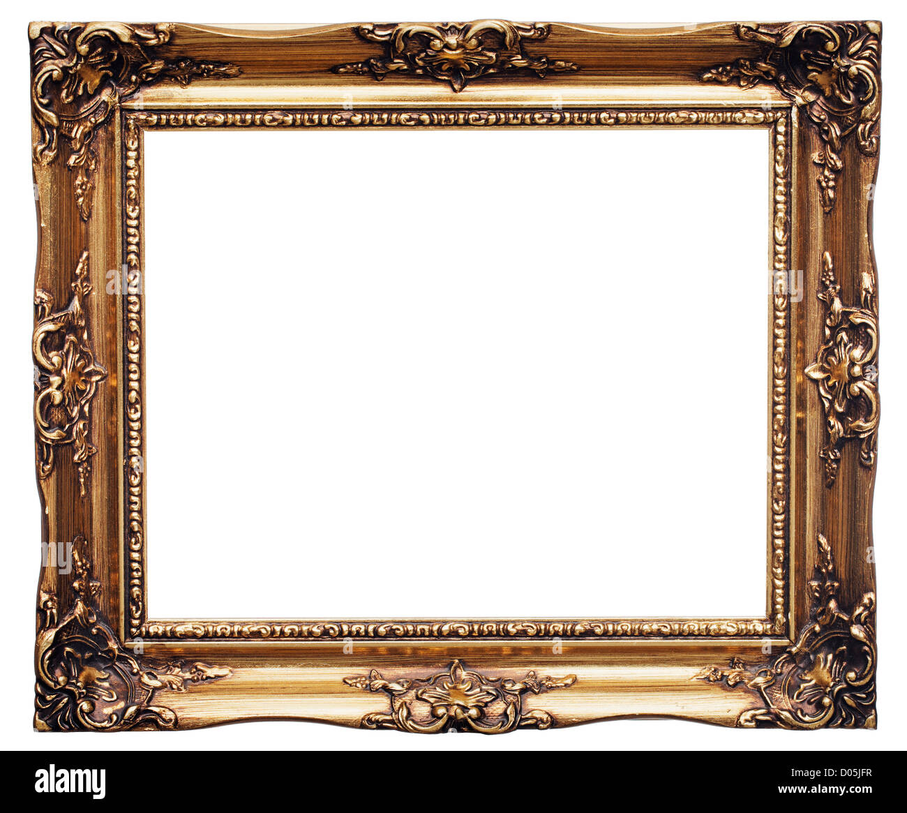 Antique look gold color picture frame isolated on white. - Stock Image