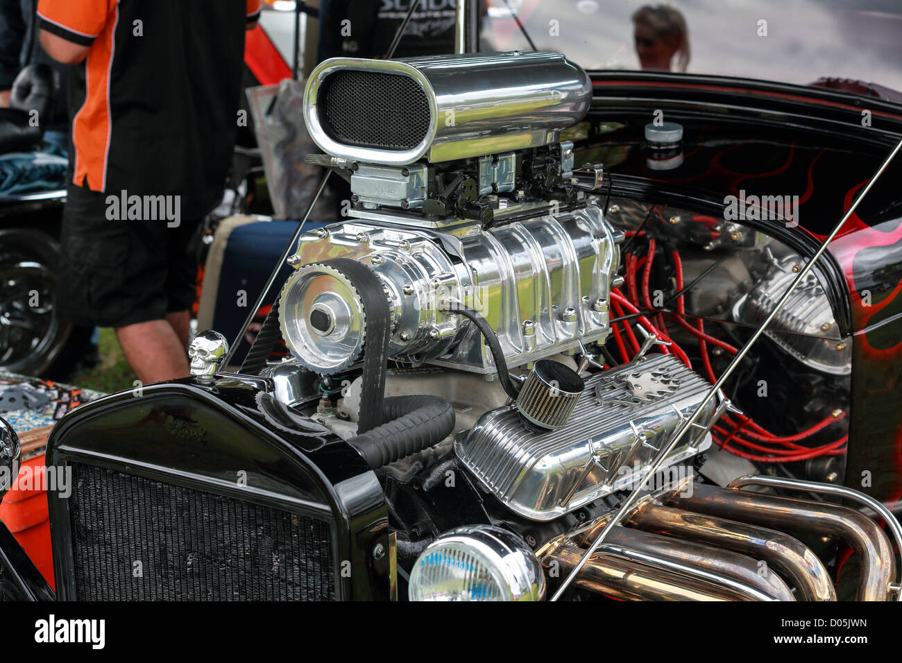 A V8 engine showing performance turbo blower on a hot rod at the ...