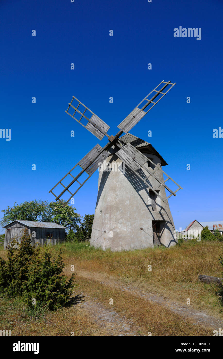 Old windmill on the Swedish island Fårö very close to and north-east of Gotland in the Baltic Sea, Sweden - Stock Image