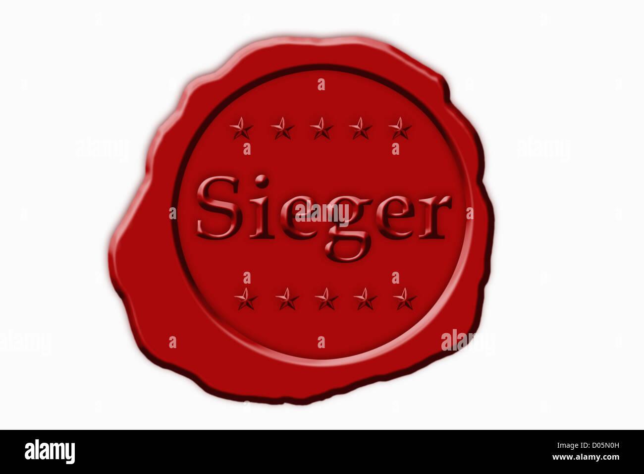 Detailansicht eines roten Siegels mit der Aufschrift Sieger | Detail photo of a red seal with the German inscription - Stock Image