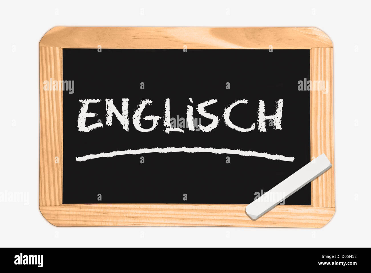 Detail photo of a Chalkboard with the German inscription English, white chalk lies in a corner - Stock Image