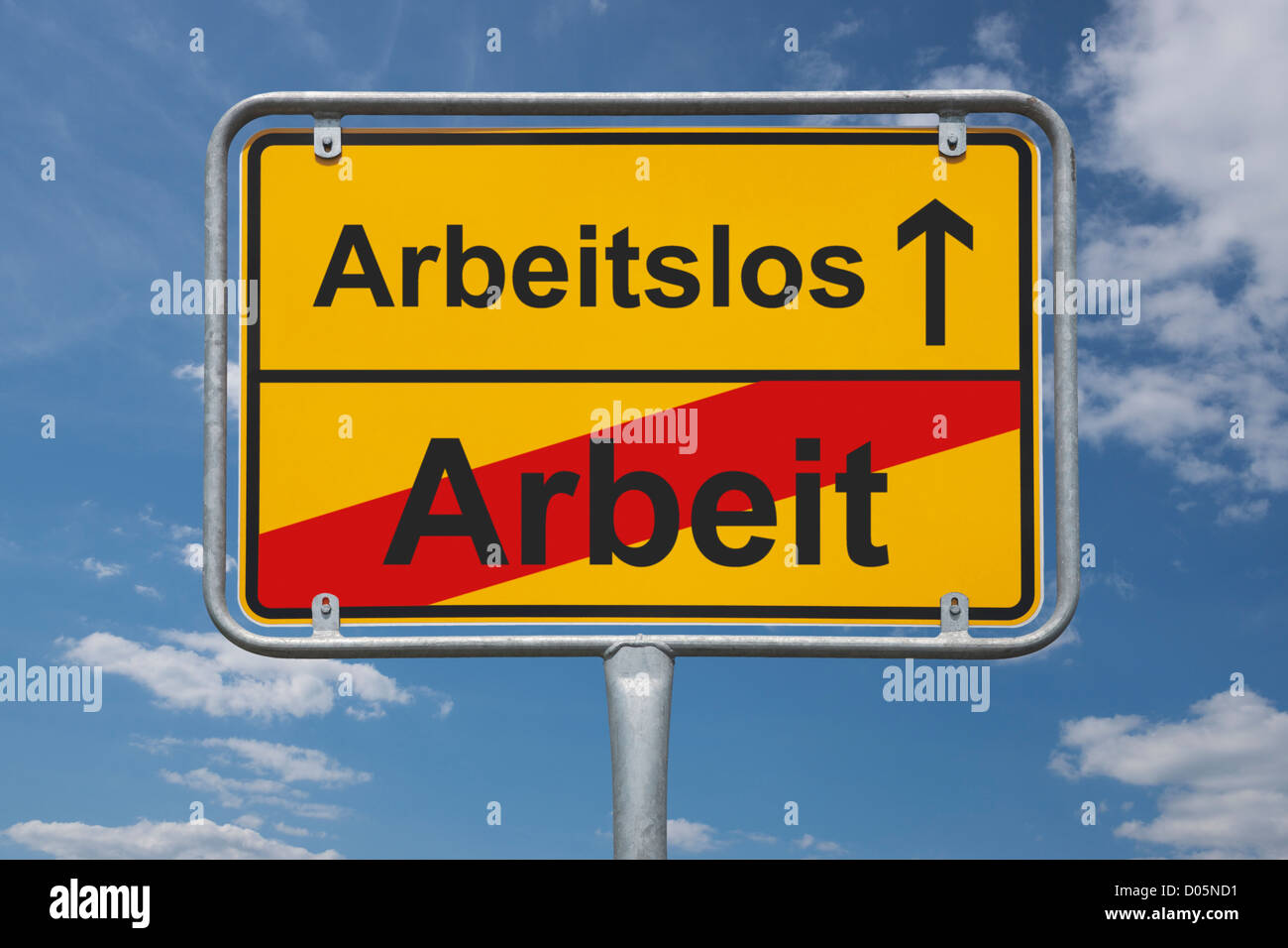 Town sign Germany, End of the town with the inscription end of work, beginning jobless - Stock Image