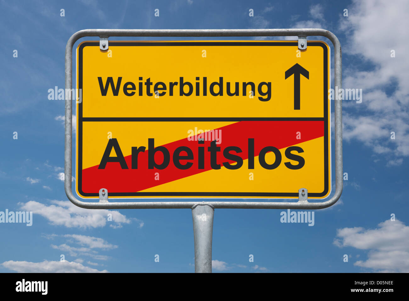 Town sign Germany, End of the town with the inscription end of jobless, beginning further training - Stock Image