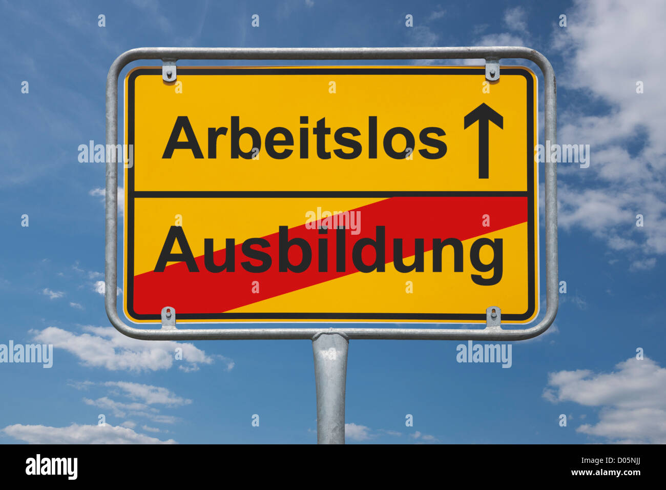 Town sign Germany, End of the town with the inscription end of schooling, beginning jobless - Stock Image