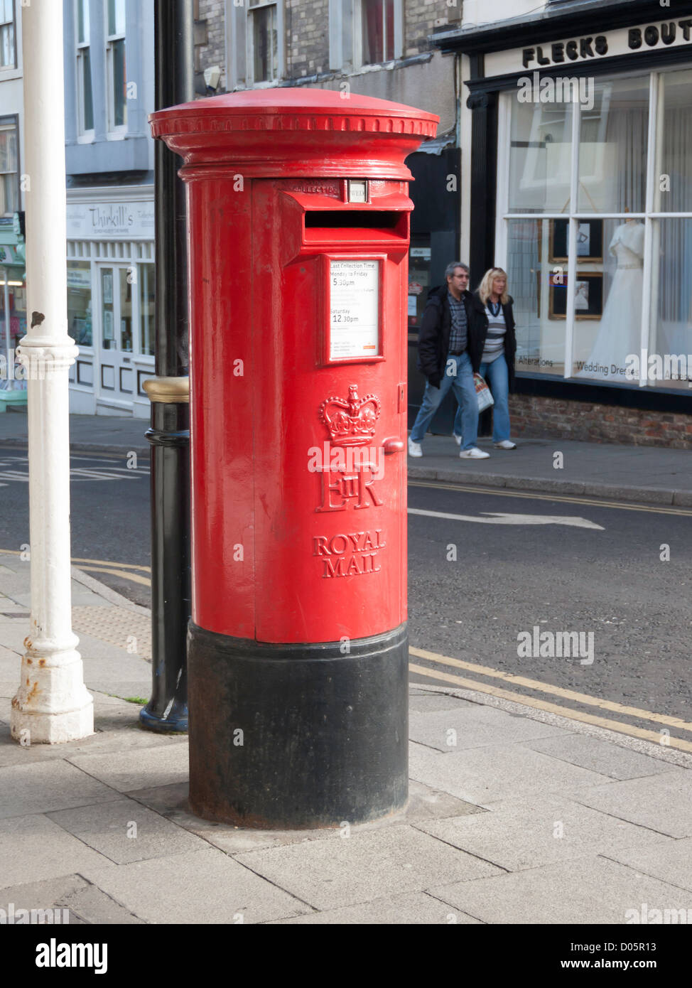 Royal Mail Letter Box.A Traditional Red Royal Mail Post Box In Whitby North