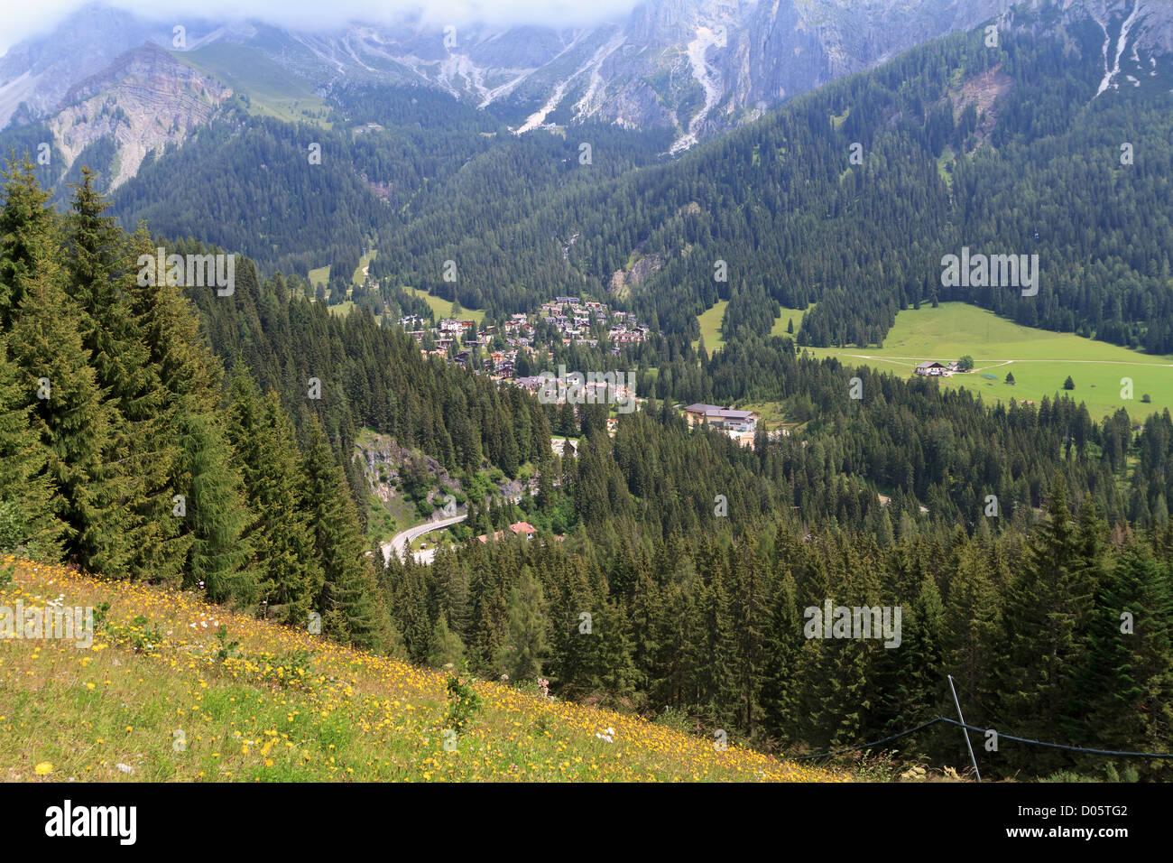 summer view of San Martino di Castrozza and Primiero valley, Trentino, Italy Stock Photo