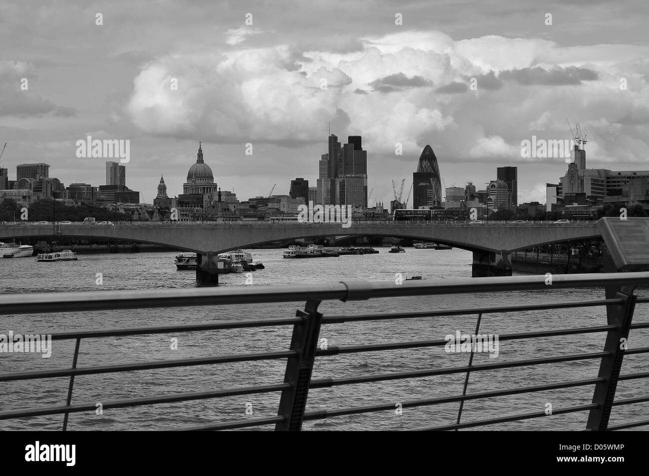 View of the Thames, St Paul's and the City of London from Hungerford bridge - Stock Image