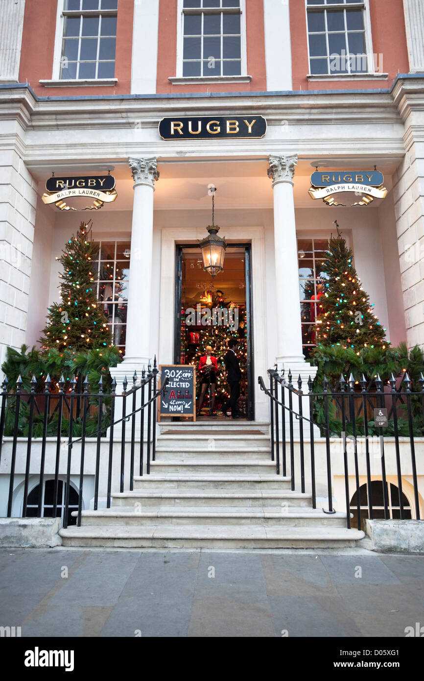 Christmas decoration on Ralph Lauren Rugby Store, Covent garden, London, England, UK - Stock Image