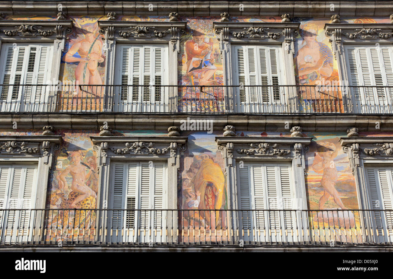 Madrid, Spain. Plaza Mayor. Detail of Murals by Carlos Franco on the facade. - Stock Image
