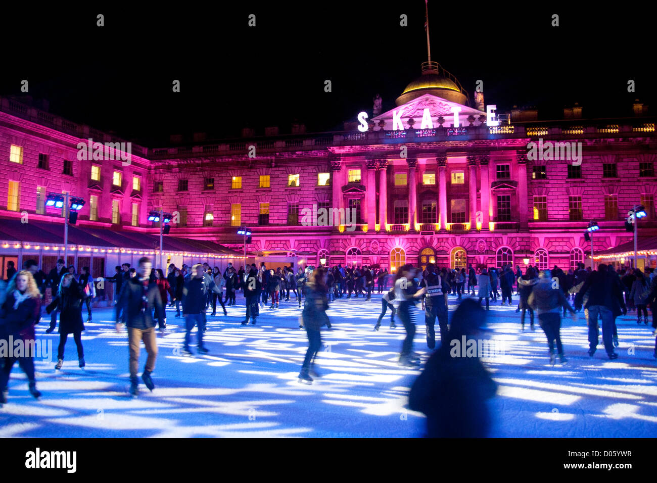 Christmas Ice Skating London.Somerset House Christmas Ice Rink With People Skating At