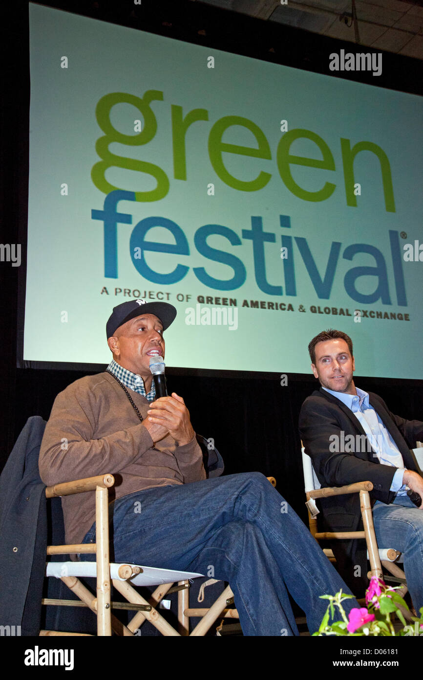 Los Angeles, California, USA. 17th November 2012. Russell Simmons and journalst David DeGraw. The Los Angeles Green - Stock Image