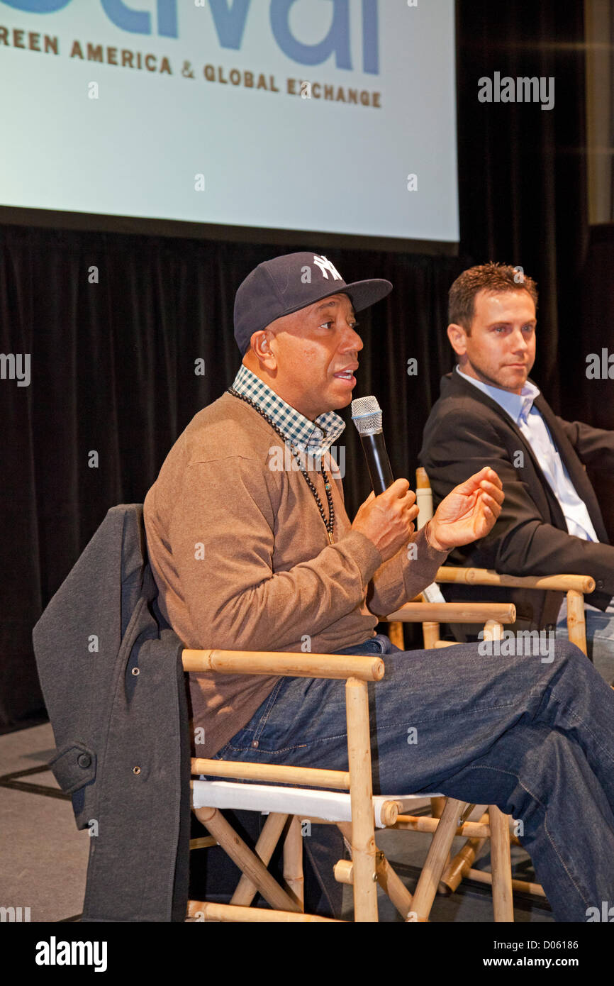 Los Angeles, California, USA. 17th November 2012. Russell Simmons and journalist David DeGraw. The Los Angeles Green - Stock Image