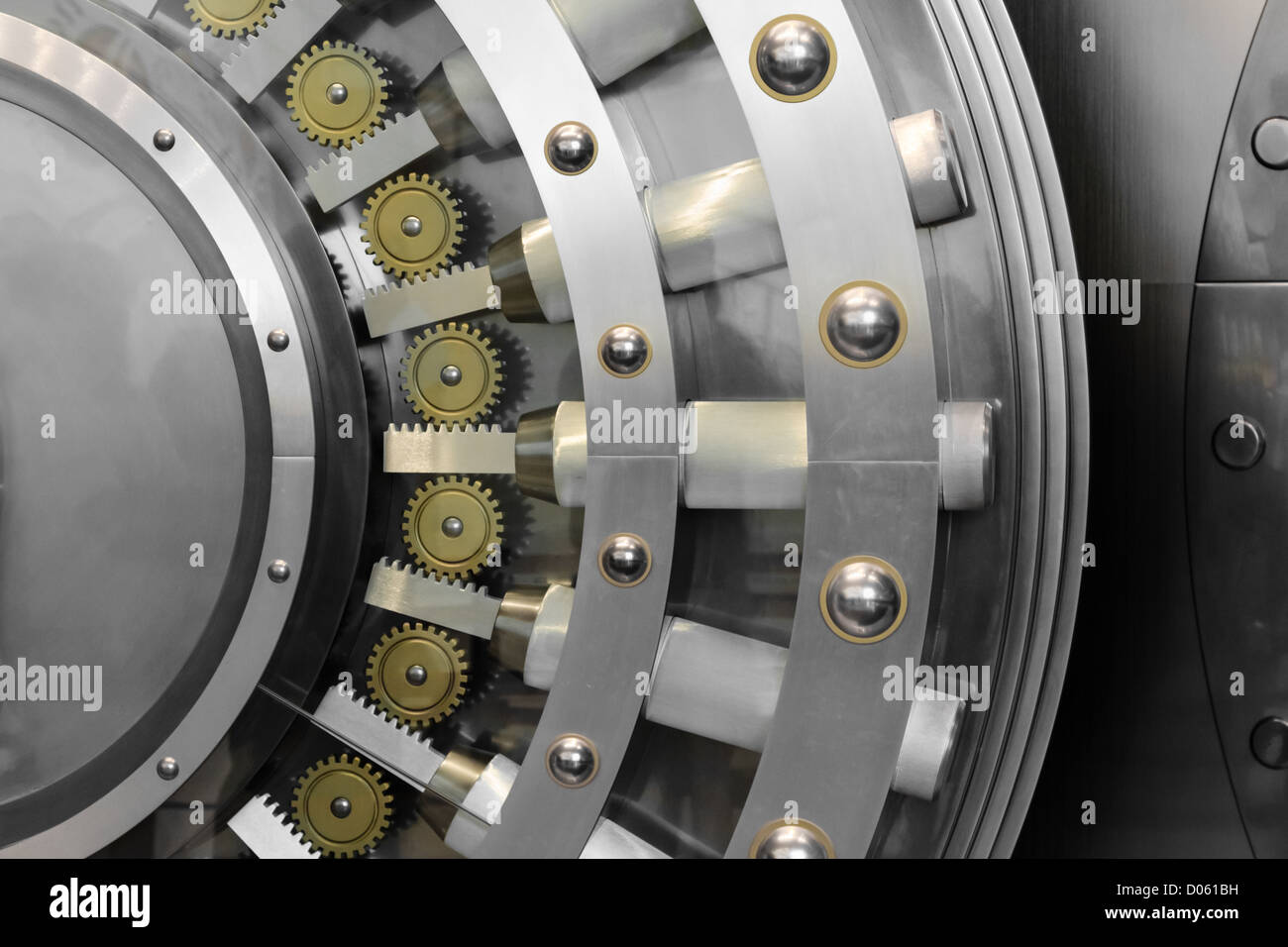 An open safe door in a vault - Stock Image