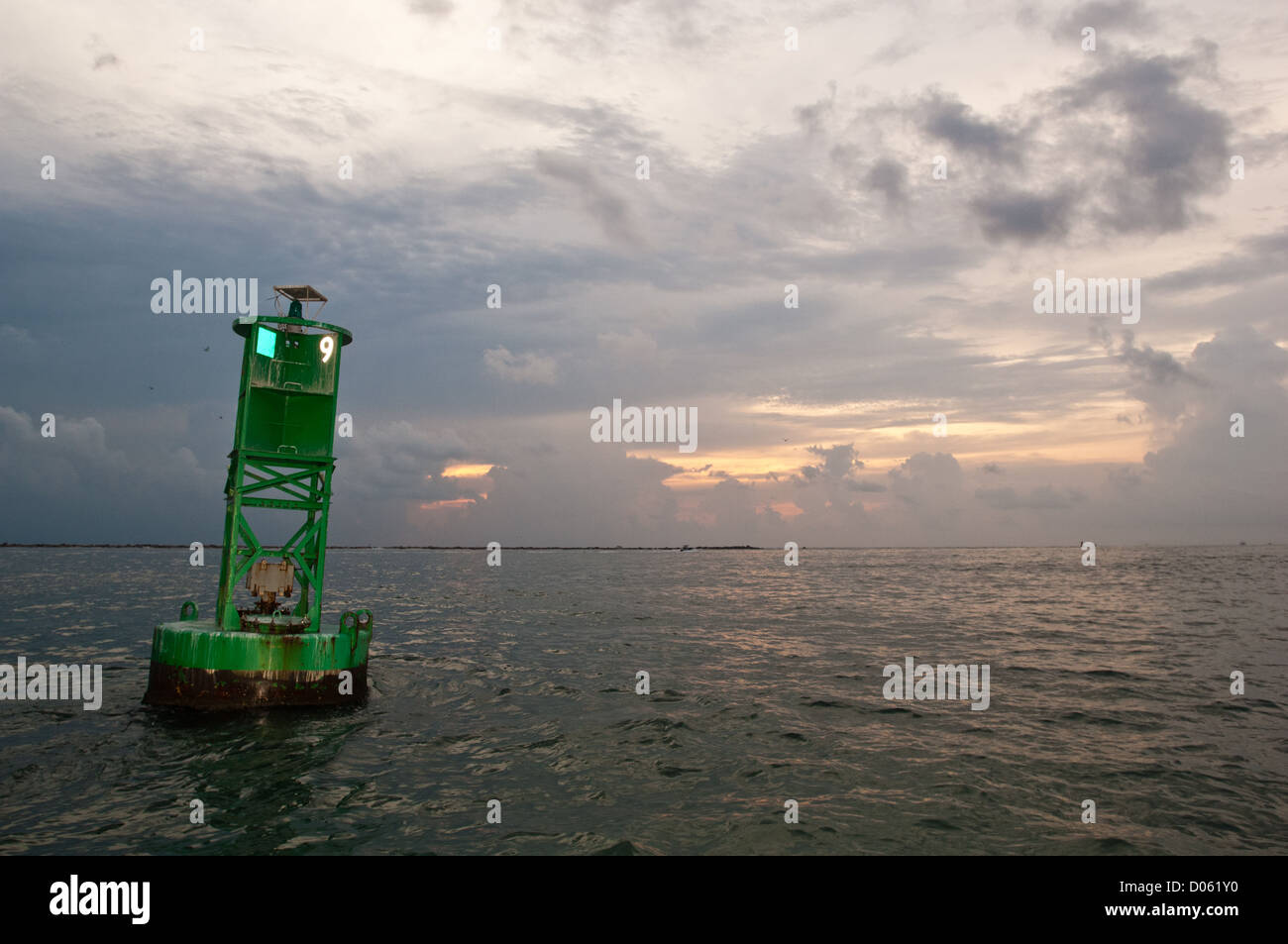 Navigation channel marker in the pass, Port Aransas Texas - Stock Image