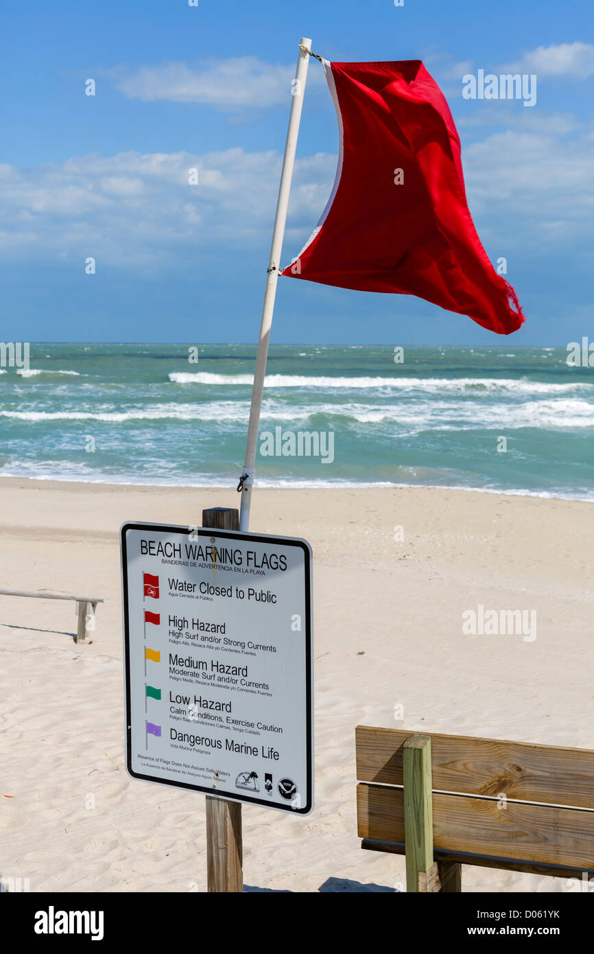 A red flag warning against swimming, Fort Pierce Inlet State Park, St Lucie County, Treasure Coast, Florida, USA - Stock Image