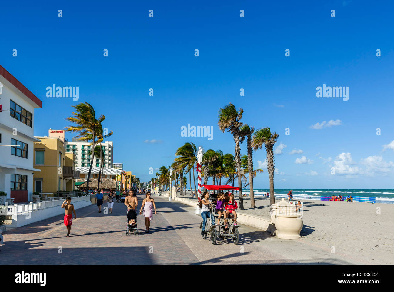 The Broadwalk in Hollywood, near Fort Lauderdale, Broward County, Gold Coast, Florida, USA - Stock Image