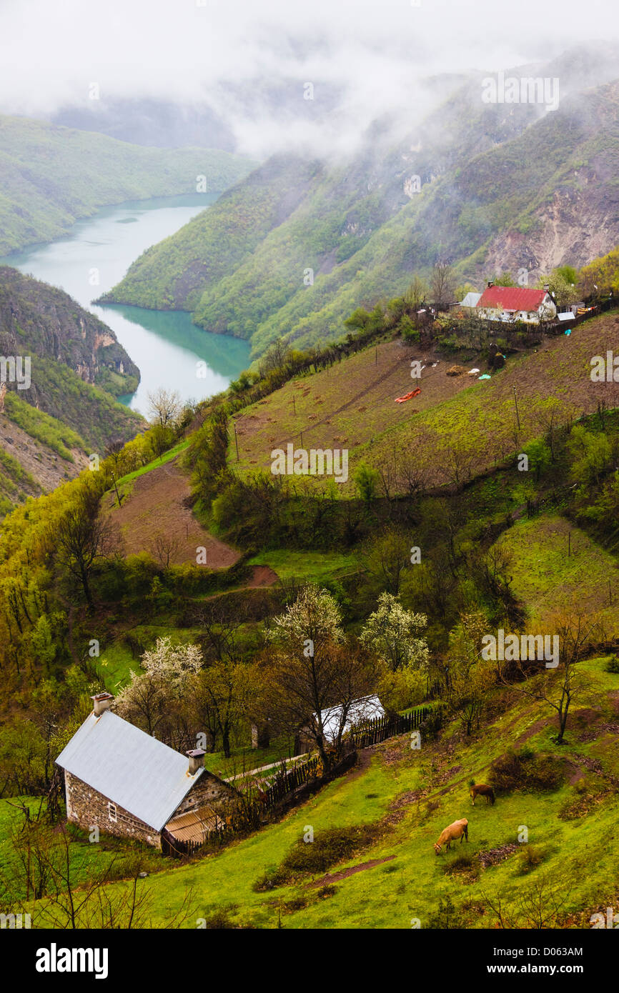 Northern Albania rural landscape with Koman lake, farms and cottages. - Stock Image