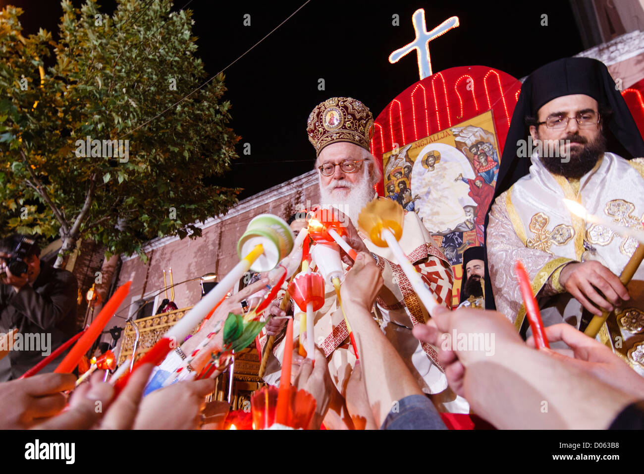 The Orthodox Patriarch attending the Easter ceremonies at Tirana, Albania - Stock Image