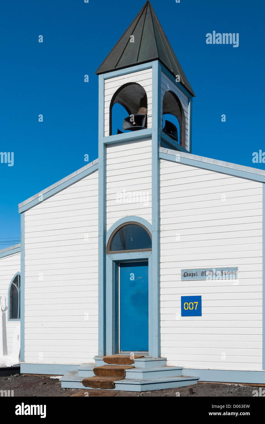 Chapel of the Snows, McMurdo Station, Ross Island, Antarctica. - Stock Image