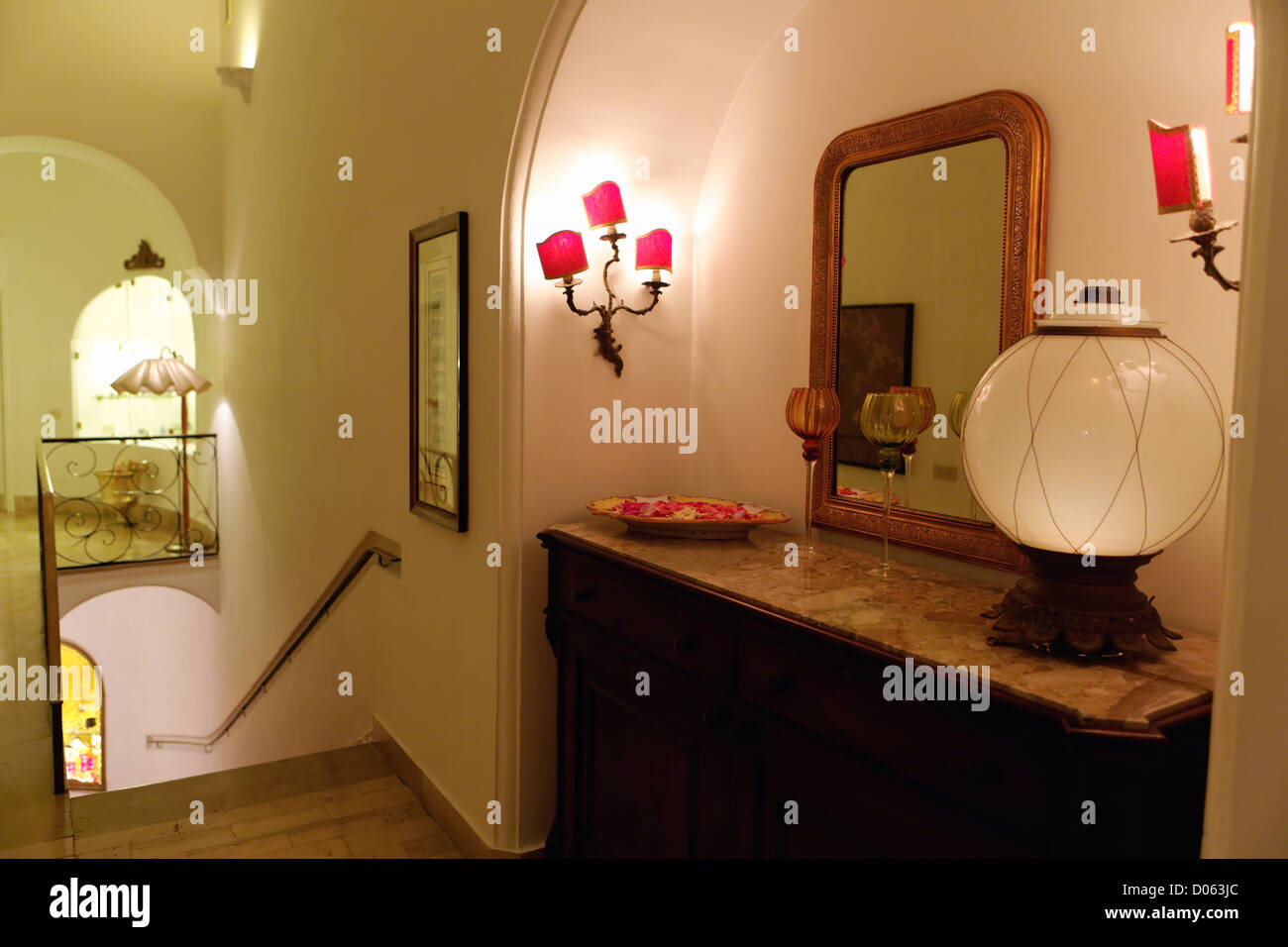 Hotel Interior with Stairway and Antique Furniture, Hotel Poseidon, Posiatano, Campania, Italy - Stock Image