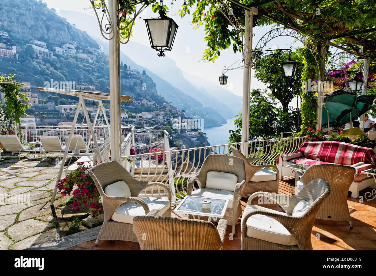 Terrace of Hotel Poseidon, Positano, Campania, Italy - Stock Image