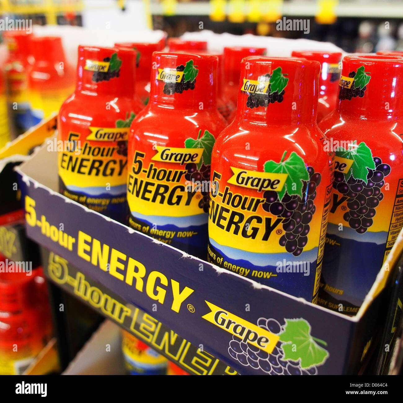 Jan. 1, 2012 - Orange County, California, USA - 5-Hour Energy drinks come in several flavors including orange, cherry Stock Photo