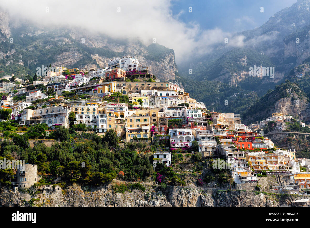 Low Angle View of Houses Bulit on a Hillside, Positano, Campania, Italy - Stock Image