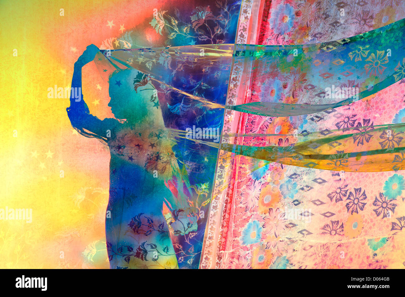 Indian girl with star and floral patterned veils in the wind. Silhouette. Colourful montage - Stock Image