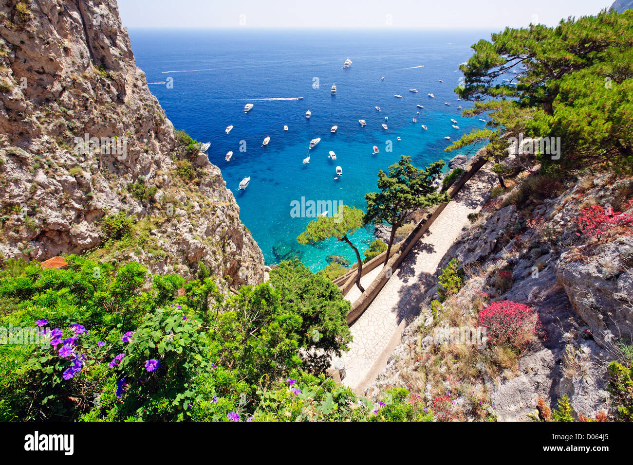 High Angle View of Coastline with a Trail, Via Krupps, Capri, Campania, Italy - Stock Image
