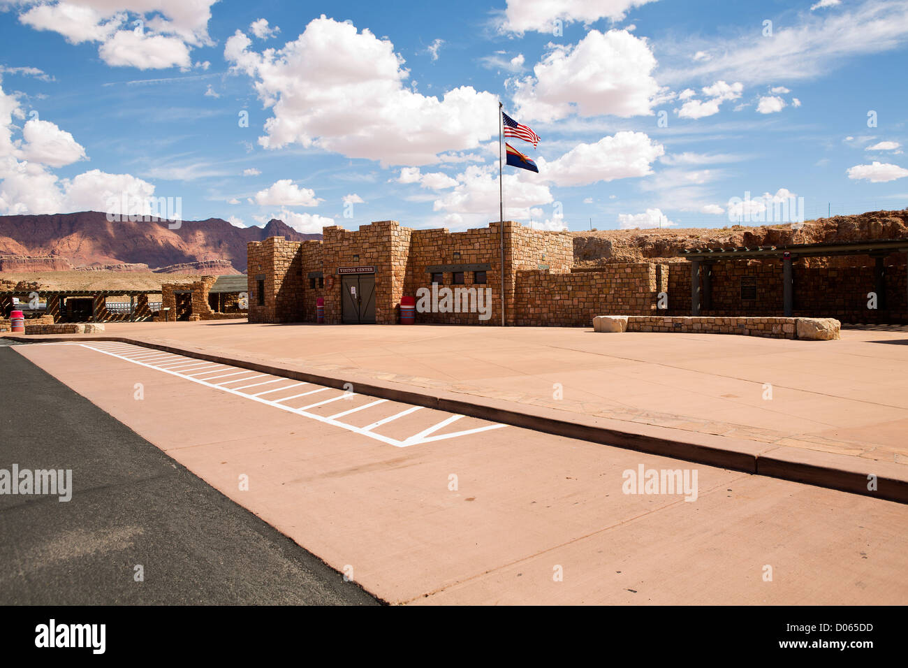 The visitor center at the historic navajo bridge over the colorado river on hightway 89A in Arizona. - Stock Image
