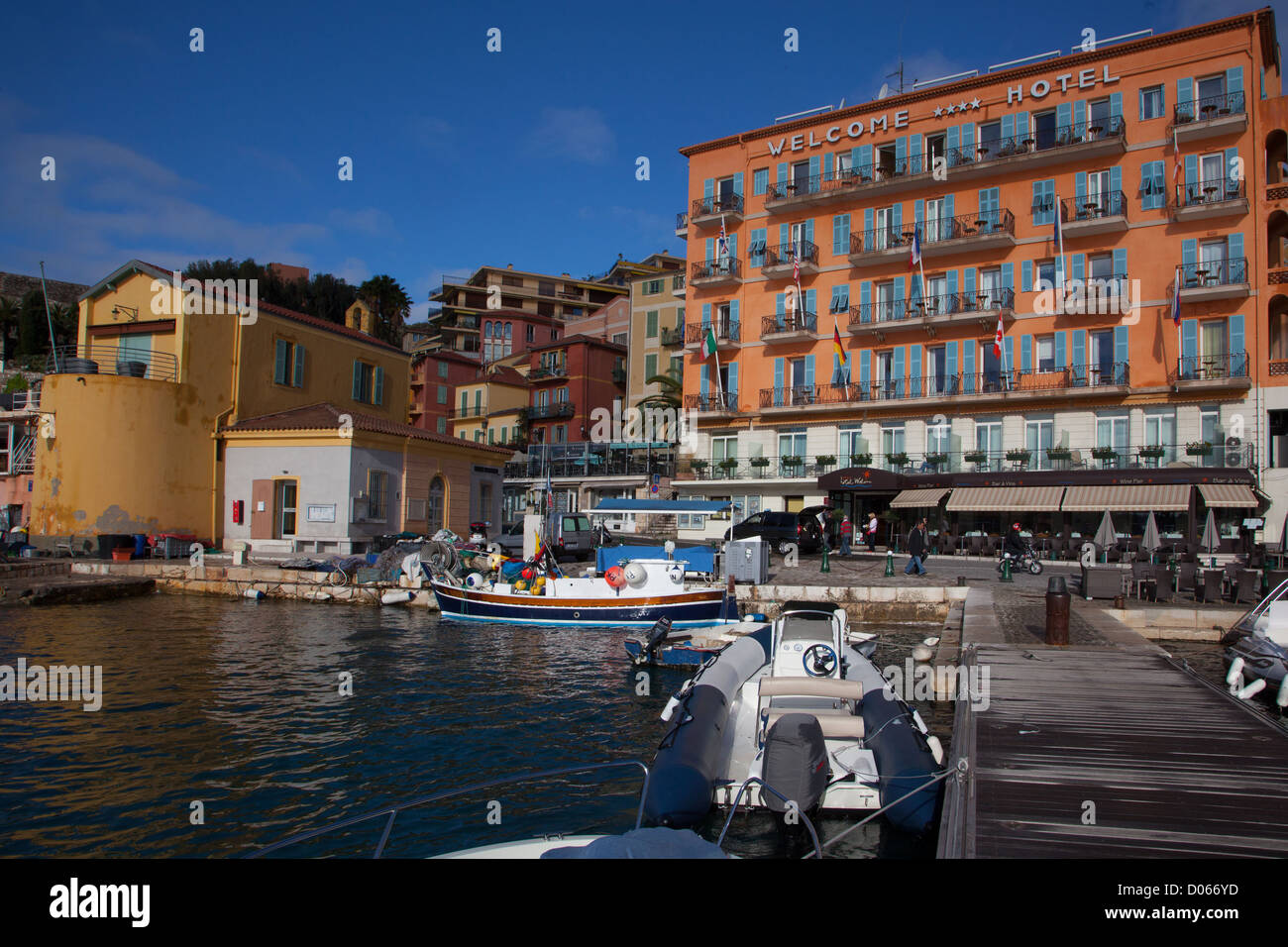 FACADE OF THE HOTEL WELCOME WHERE JEAN COCTEAU OFTEN STAYED ON THE PORT OF VILLEFRANCHE-SUR-MER ALPES-MARITIMES - Stock Image