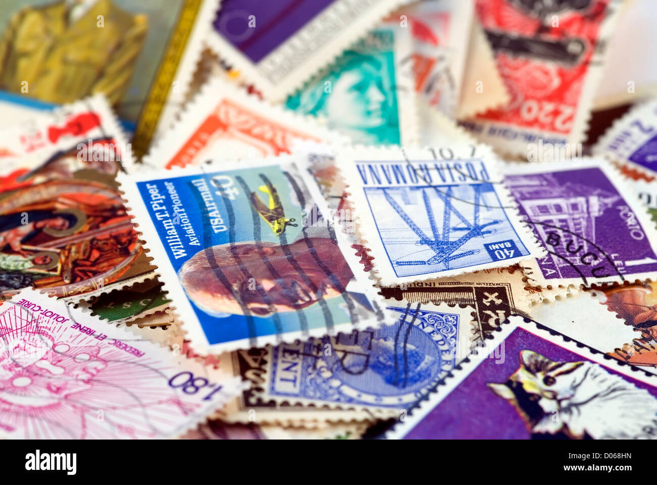 Postage stamps of different countries and times. Background - Stock Image
