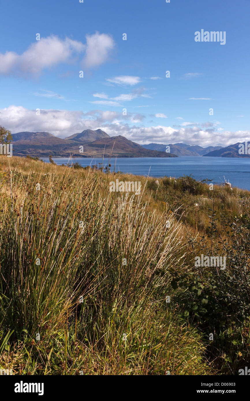 Loch Hourn and Beinn Sgritheall in the Scottish Highlands seen from the Isle of Skye across the Sound of Sleat, - Stock Image